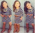 Vestidos Infantil Infantis Mujer Meninas Stripe Toddler Kids Little Girls Dresses Girl Dress 2015 Robe Fille Enfant Meisjes Jurk
