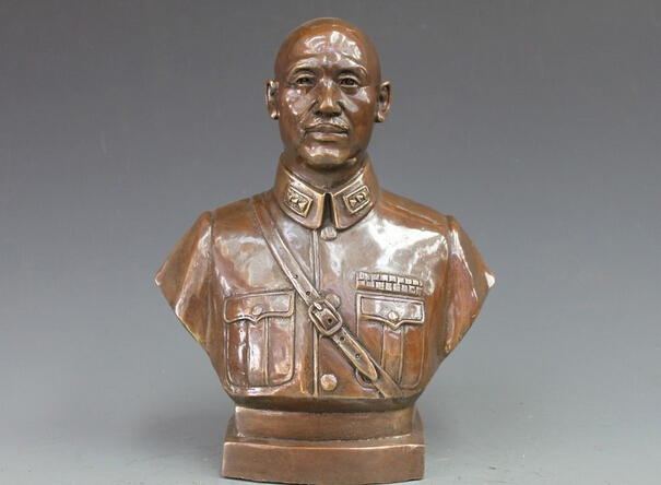 China Pure Bronze Copper Chiangs KMT faction chief Bust Statue garden