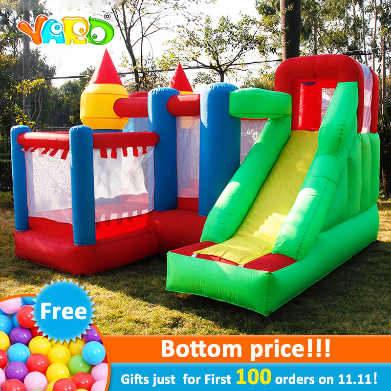 YARD Inflatable Games Castle Bouncer House Jumping Slides Free PE Balls InflatableTrampolines Oxford PVC Kids Children Bouncer elonbo beautiful stripe plastic hard back cover for iphone 6 4 7 inch