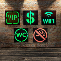 American Retro Iron Wall Shop Restaurant Bar Mural Wall Decorations Led Neon Lamp VIP WIFI WC Sign Wall Sticker
