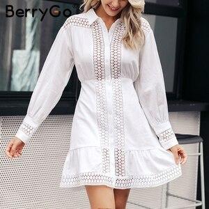 Image 3 - BerryGo Vintage בת ים קצר לבן שמלות נשים 2019 סתיו חורף תחרה כותנה שמלת חולצה נשי ארוך שרוול vestidos טהור
