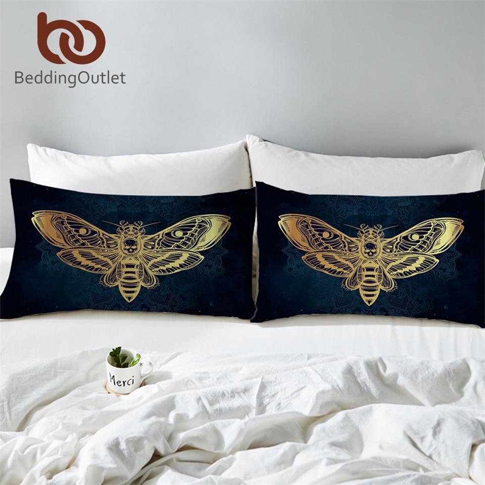 BeddingOutlet Death Moth Pillowcase Skul Pillow Case Black White Golden Bedding Butterfly Gothic Pillow Cover 50x75cm 2pcs