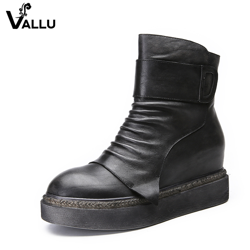 VALLU 2018 Vintage Women Shoes Genuine Leather Flat Platform Boots Round Toes Pleated Handmade Female Ankle Boots handmade genuine leather boots vintage national trend women boots twiddlefish platform flat heels boots women shoes