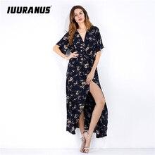 IUURANUS 2019 summer beach dress Vintage Floral Sexy V Neck Bow knot Sashes Slit loose print Boho Long Dresses