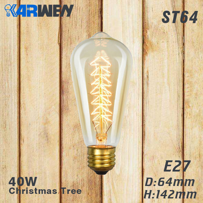 Эдисон лампы E27 40 Вт накаливания подвесной светильник в стиле ретро 220V ST64 A19 T45 T10 G80 G95 ампулы Винтаж лампа Эдисона лампа накаливания светильник лампочка - Цвет: ST64 christmas