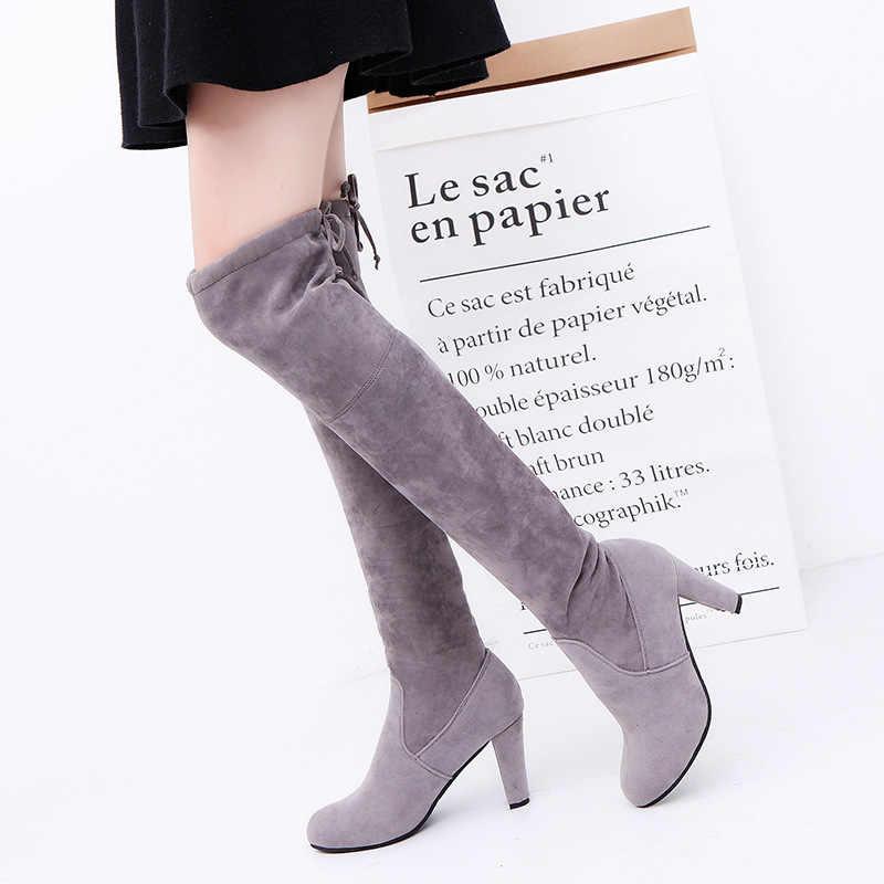 2018 ใหม่ Faux Suede Slim รองเท้าเซ็กซี่เข่าสูงผู้หญิงแฟชั่นฤดูหนาวต้นขาสูงรองเท้าผู้หญิงรองเท้าแฟชั่น botas Mujer
