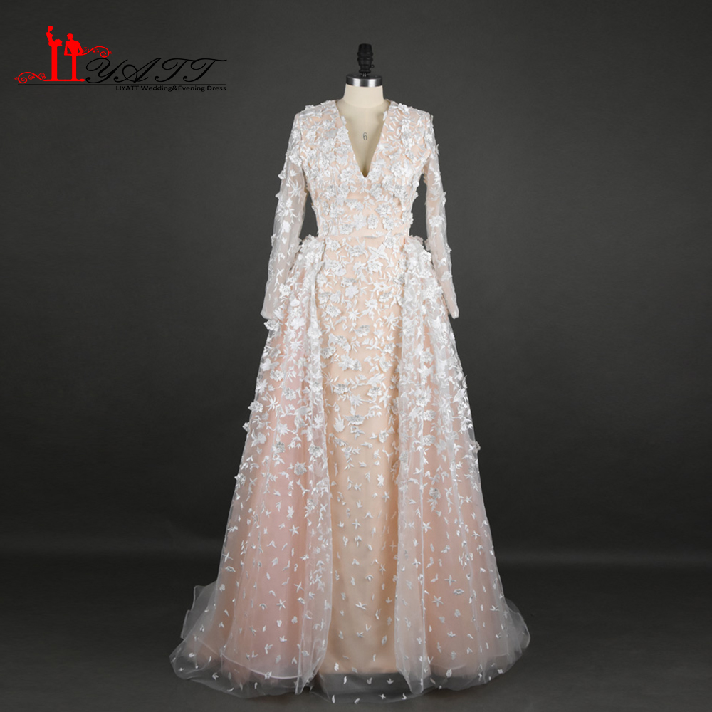 Real Photo 2017 New Arrival Muslim Evening Prom Dresses With Detachable Trains 3D Lace Flowers Long Sleeves Amazing Women Gown