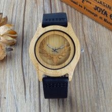 Hollow Deer Head Bamboo Wood Casual Watch for men laides With Genuine Leather Strap Quartz Watch gift watch free shipping