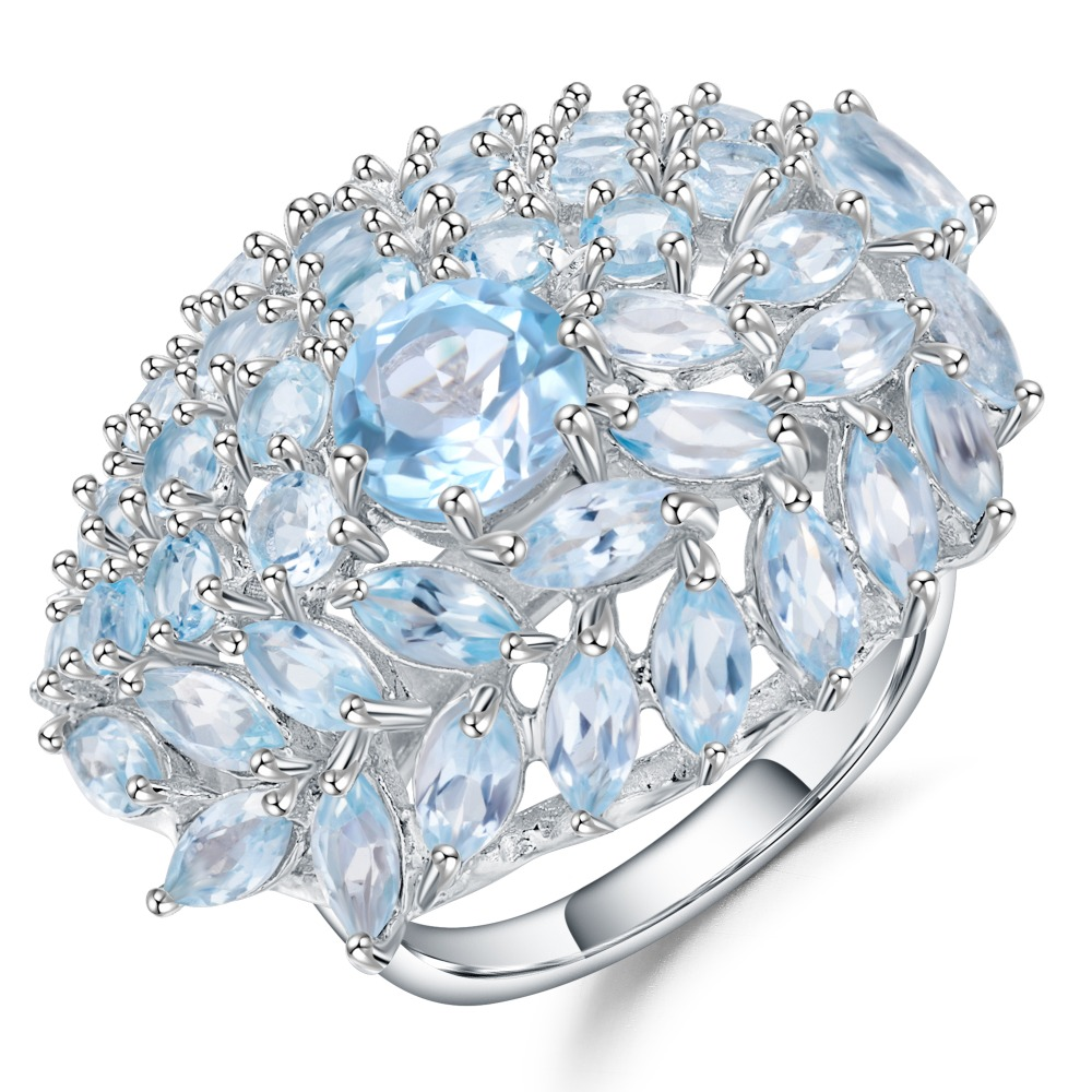 Gem's Ballet 19.95Ct Natural Sky Blue Topaz Gemstone Flower Rings 925 Sterling Silver Fine Jewelry For Women Party