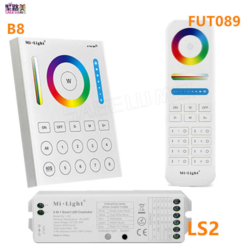2.4G Draadloze FUT089 Remote 8 Zone Rf Dimmer B8 Touch Panel Wand LS2 5 In 1 Led controller Voor Rgb + Cct Led Strip Licht