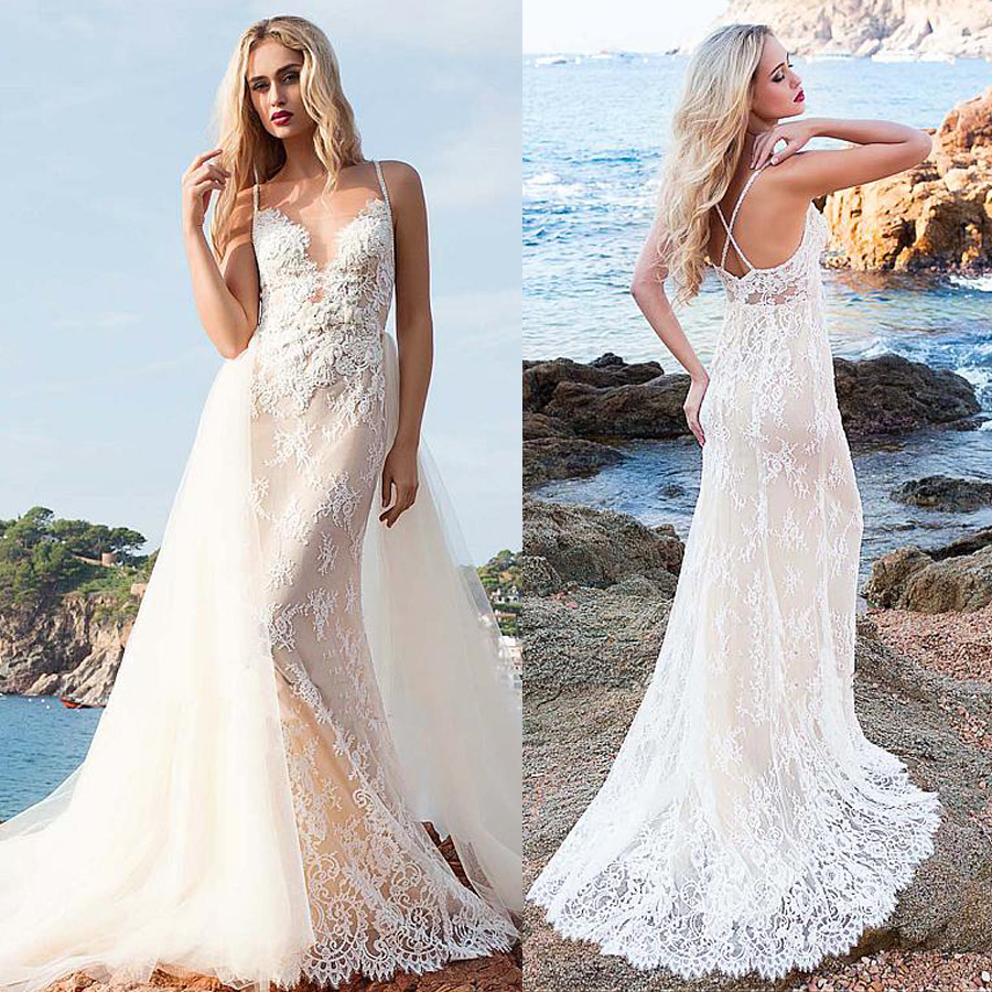Fascinating Spaghetti Straps Neckline 2 In 1 Wedding Dress With Detachable Skirt Lace Appliques Nude Beach Bridal Dress image