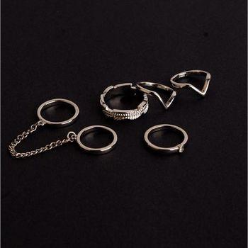Juego de anillos de cadena con personalidad, nudillo Midi de moda de Punta del dedo medio, joyería para mujer, gran oferta de regalo