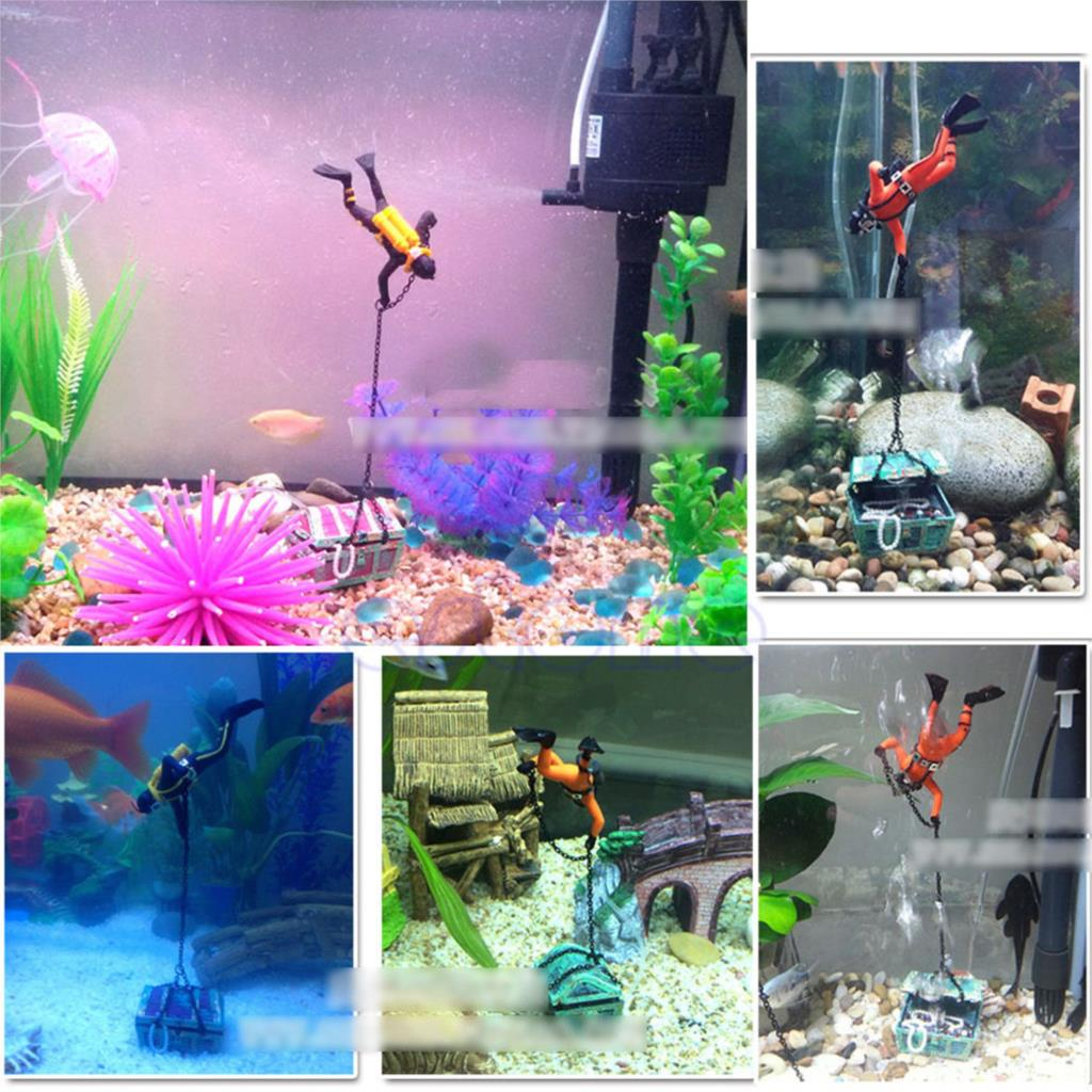 Unique Design Hunter Treasure Figure Action Decor Fish Tank Aquarium  Ornament Landscape(China (Mainland