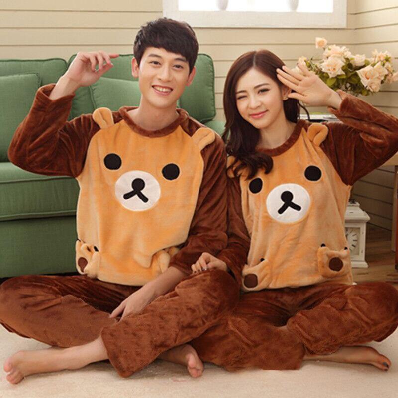 Coral Velvet Lovers Pajamas Set Animal Flanned Couple Pajamas Set Winter Cute Homewear Set Bear Print 2 Pieces Sleepwear Suit
