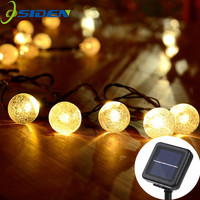 OSIDEN Solar Lamp 5M 20Led Crystal Ball Globe Luz Waterproof Warm White Fairy Light Garden Decoration