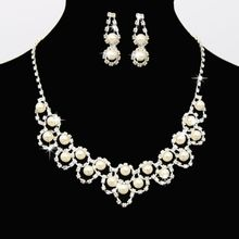 Jewelry Sets Wedding Rhinestone Crystal Bib Statement Necklace Earrings Set Brides Party Prom for Women недорого