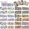 1 Sets 12 Designs Fashion 3d Pattern Nail Sticker Water Transfer Tiger Leopard Animal Full Sticker for Women Full Tips BN085-096