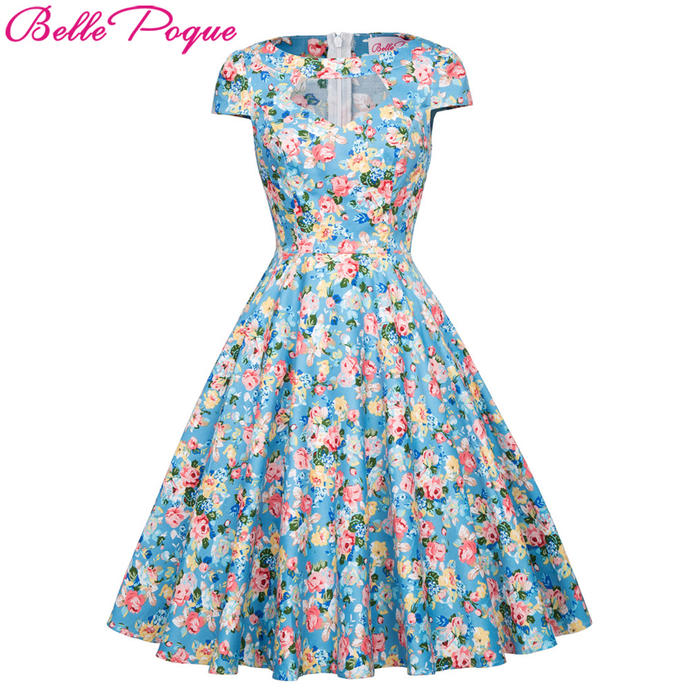 2018 Summer Vintage Dresses Print Floral Elegant Women Party Dress ...