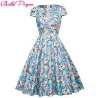 2018 Summer Vintage Dresses Print Floral Elegant Women Party Dress Casual Cotton O Neck 1950s Style