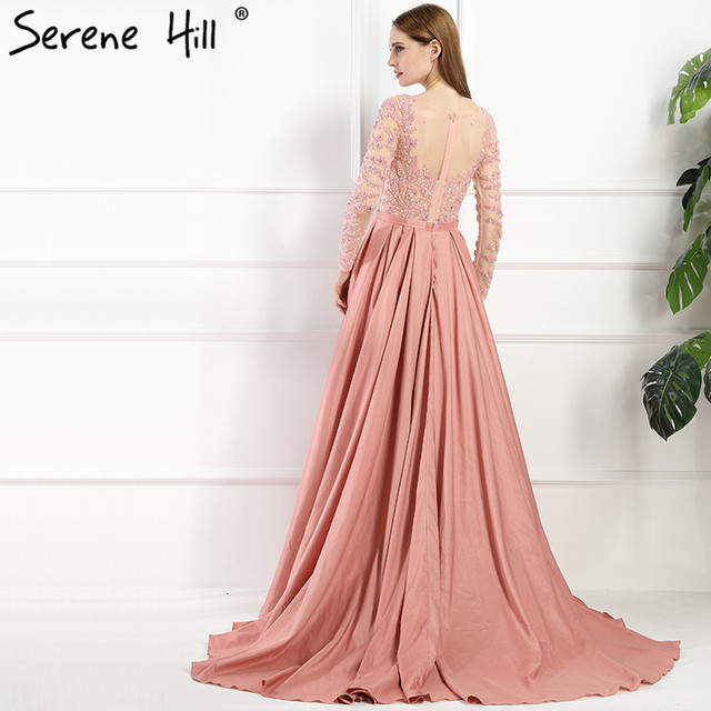 Luxury Dubai Arabic Robe De Soiree Evening Dresses New Long Sleeve Prom Dress Party Crystal Beaded Vestido De Festa BLA6172