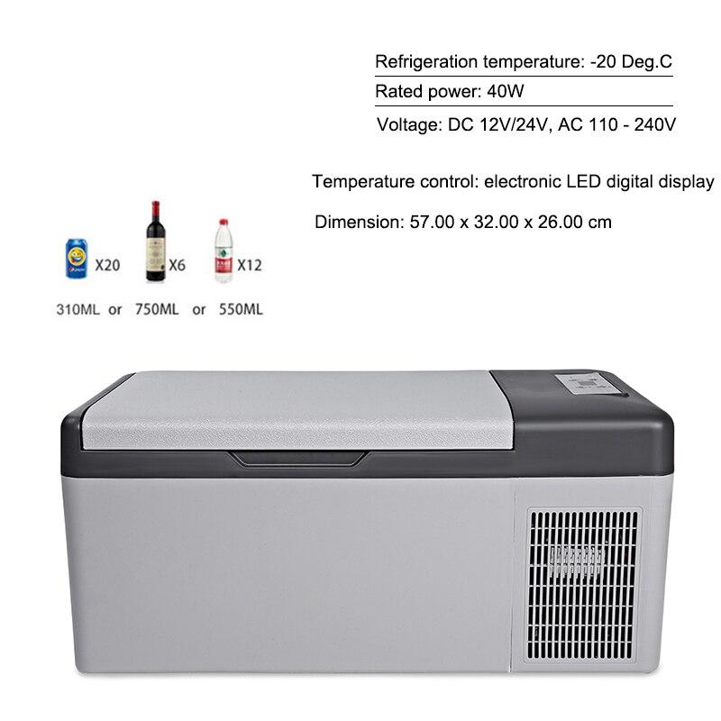 15L Fridge 12V/24V Led Digital Portable Compressor Car Refrigerator Freeze for Home Traveling -20 Degrees Auto Cooler Freezer