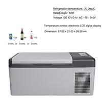 15L Fridge 12V/24V Led Digital Portable Compressor Car Refrigerator Freeze for Home Traveling 20 Degrees Auto Cooler Freezer