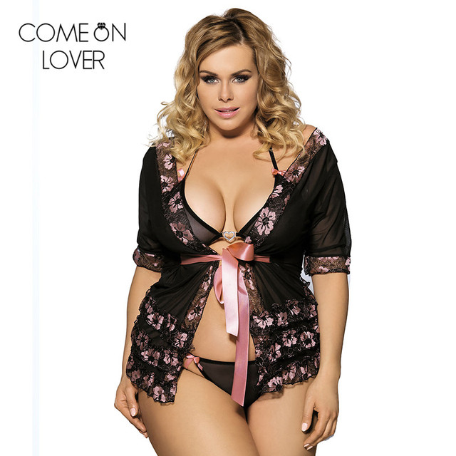 056c84ee45f R80047 Comeonlover black pink transparent sexy sleepwear short sleeve lady plus  size babydoll hot sale sexy women lingerie