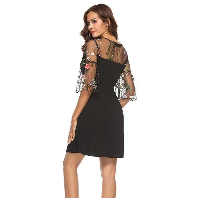 WHZHM Sexy Party 2018 Lace Flower Patchwork Loose A-Line Autumn 4XL Jurken Sukienka Plus Size 5XL Casual Mesh Embroidery Dresses