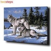 בני זוג זאב TwoSteps תמונות ציור שמן Diy בד דיגיטלי על ידי מספרים צביעה על ידי מספרים מודרני אקריליק צבע על ידי ערכות מספר