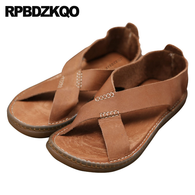 a29911bbebbf19 Strap Summer Flat Waterproof Casual Brown Slip On Men Sandals Leather Beach  Black Native Japanese Water Shoes 2018 Open Toe