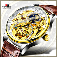 Brand TEVISE Luxury Tourbillon Automatic Mechanical Watches Men Self Wind Leather Moon Phase Mens Wristwatches erkek kol saati ik colouring luxury brand mechanical hand wind watches nail scale hollow hardlex full steel business mens watch erkek kol saati