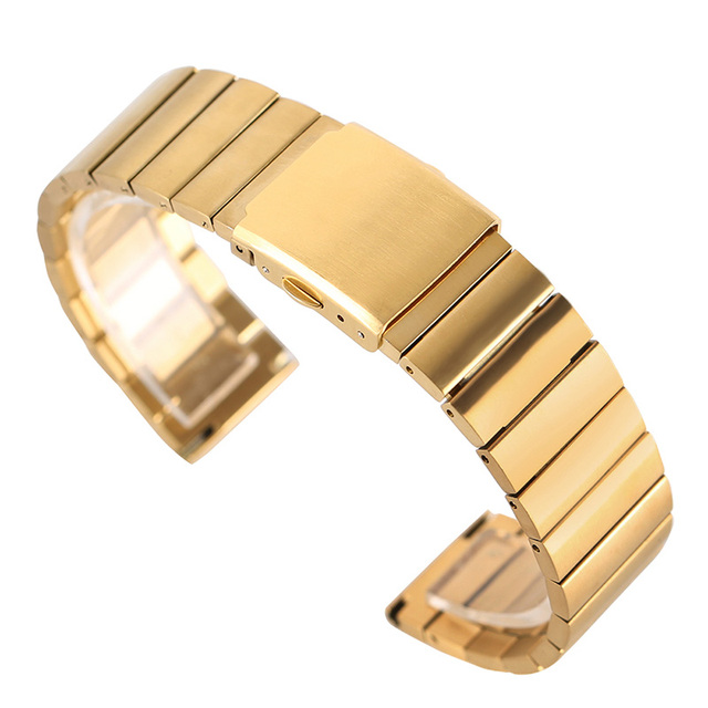 18mm 20mm 22mm 24mm Stainless Steel Gold Casual Wristwatch Band Watch Clasp Repl