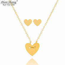 DIANSHANGKAITUOZHE Gold Colour Silver Conjunto Joyas Acero Iinoxidable Mujer Bijuteria Heart Choker Necklace Earrings For Women(China)