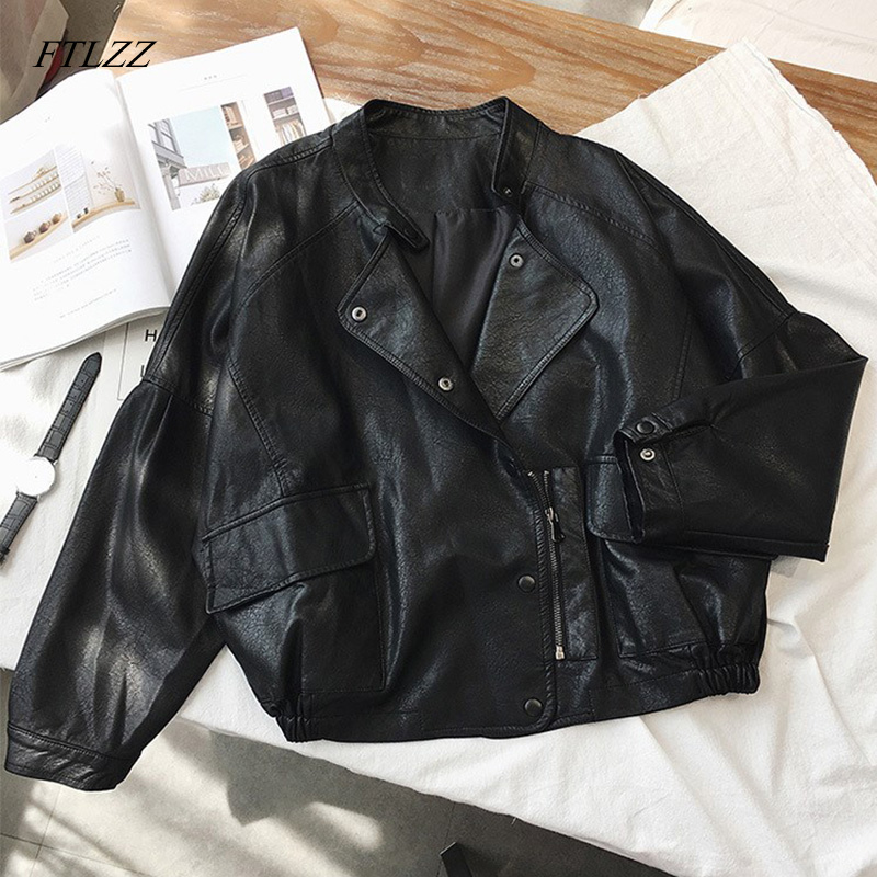 FTLZZ Women Short Pu Leather Punk Jacket Slim Zipper Faux Leather Coats Female Single Breasted Motorcycle Leather Outerwear