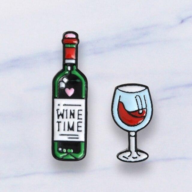 Anggur Waktu Merah Anggur Kaca Simbol Hati Hijau Botol Anggur Enamel Pin Cute Bros Denim Ransel Sweater Aksesoris