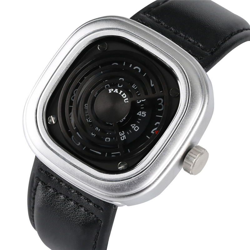 Special Watch Case Quartz Watch Movement For Men Women High-tech Sense Quartz Analog Wrist Watches Leather Watch Band