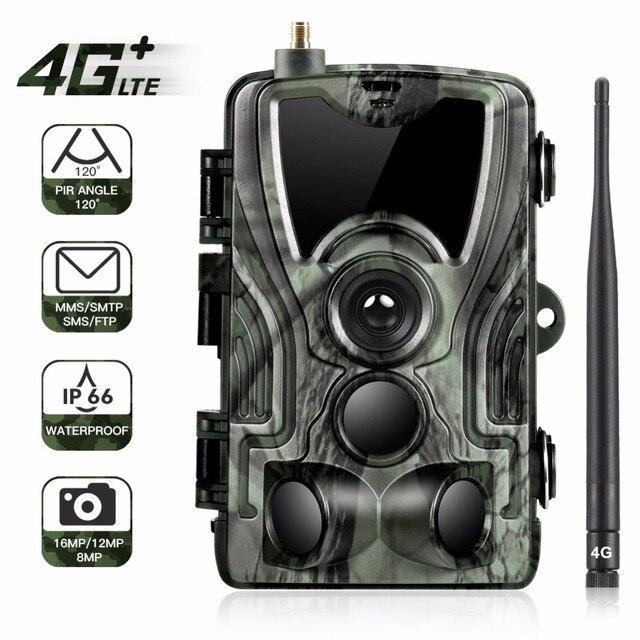 Goujxcy HC801LTE 4 グラム MMS/SMS/SMTP/FTP 狩猟トレイルカメラ 16MP 64 ギガバイトナイトカメラ 0.3 秒トリガー野生カメラ写真トラップのための動物
