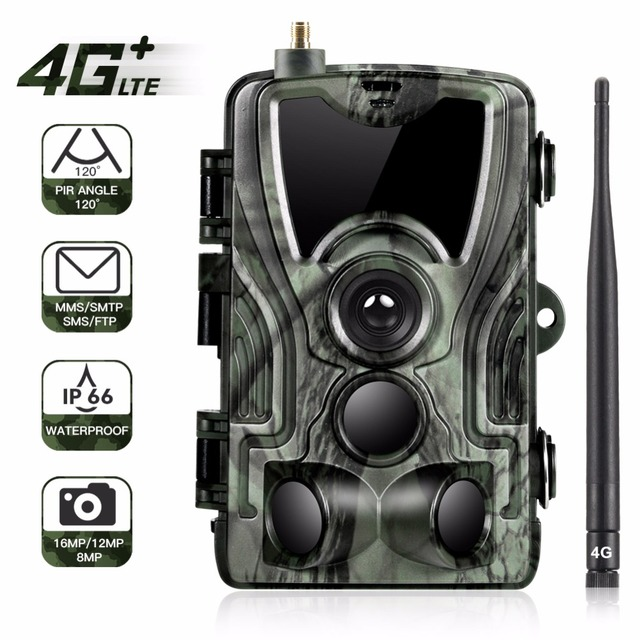 Goujxcy HC801LTE 4G MMS/SMS/SMTP/FTP Hunting trail camera 16MP 64GB night camera 0.3s Trigger wild camera photo traps for animal