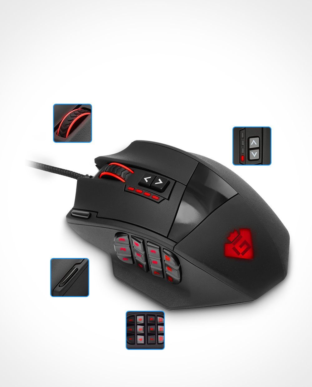 Details about Gaming Mouse 50 to 16400 DPI High Precision Laser MMO 19 PCS  Buttons