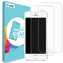 [2-PCS]For Apple iPhone 5 Tempered Glass Film, Topk 9H Hardness HD Tempered Glass Screen Protector for iPhone 5s 5 SE