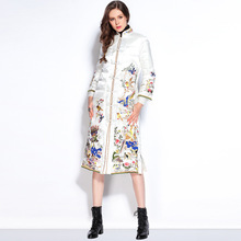 2016 Winter Jacket Women Down Jackets Embroidery Flower chinese style buttons medium-long Parka Women's down coat outerwear P