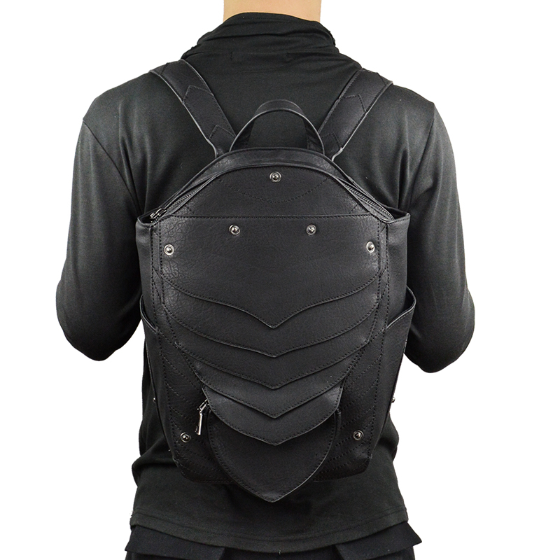 Norbinus Punk Angel Wing Backpack For Men Women Gothic Devil Leather Backpacks Vintage School Bag Steampunk Retro Motorcycle Bag