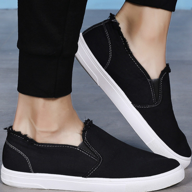 2019 Autumn Men Canvas Shoes Simple Casual Mens Loafers High Quality Anti-Slip Comfortable Vulcanized Shoes Man Flats N2-92(China)