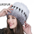 URSFUR 2017 Russia Fur Hat for Women Rex Rabbit Fur Caps with Fox Fur top Female Winter Skullies Knitted Hats Fashion Beanies