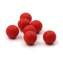 JOJOCHEW 100pcs 9mm-19mm Scarlet Red Hot New Silicone Baby Teething Bead BPA უფასო მრგვალი Cuentas de silicona რეწვა