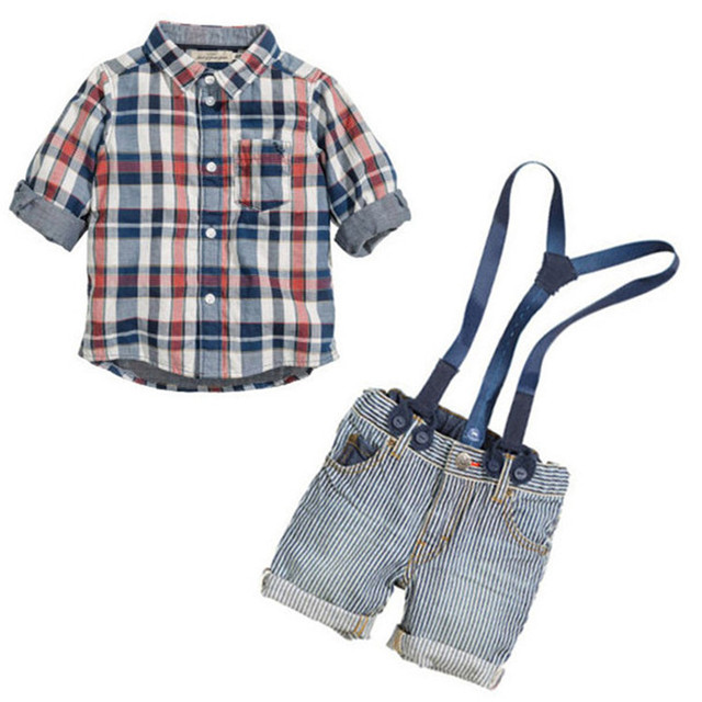 Free shipping hot selling children's clothing boys sling strap denim suit baby shirt+strap jeans shorts 2pcs sets retail