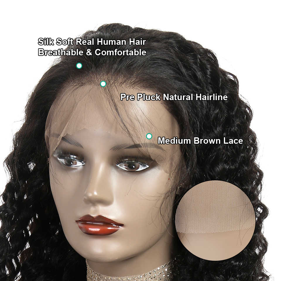 Ali Grace Brazilian Deep Wave Full Lace Wigs Remy Hair 150% Density Pre-Plucked Natural Hairline With Baby Hair Human Hair Wigs