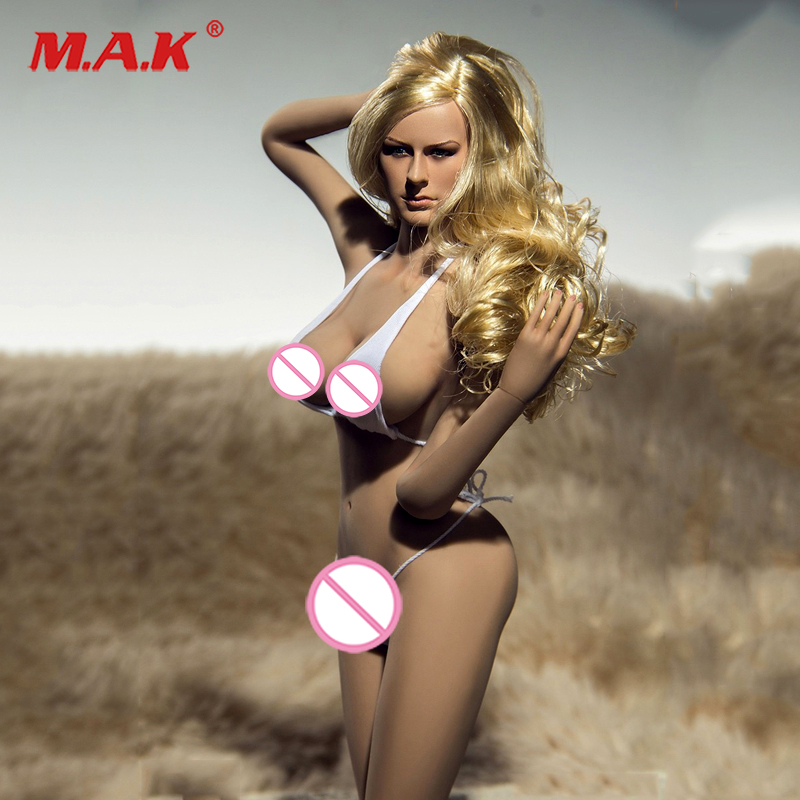 Full set 1/6 PLLB2014-S06 Super Flexible Female Seamless Body with Head Tan Color  Big Breast Body Suntan color for Collection 1