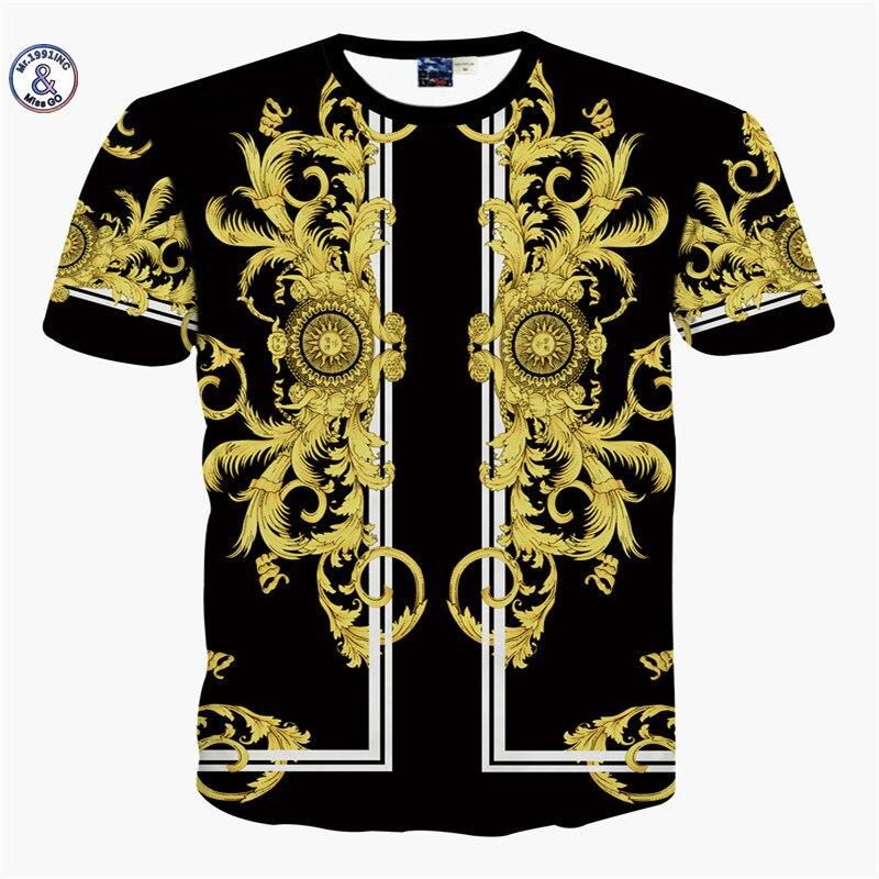 2017 Mr.1991INC & Miss. GO Estate Nuovo Mr GUGU & Mis GO versa T camicia fede Uomini 3D Gold flower stampa T-Shirt Top di Grandi dimensioni S-XXL