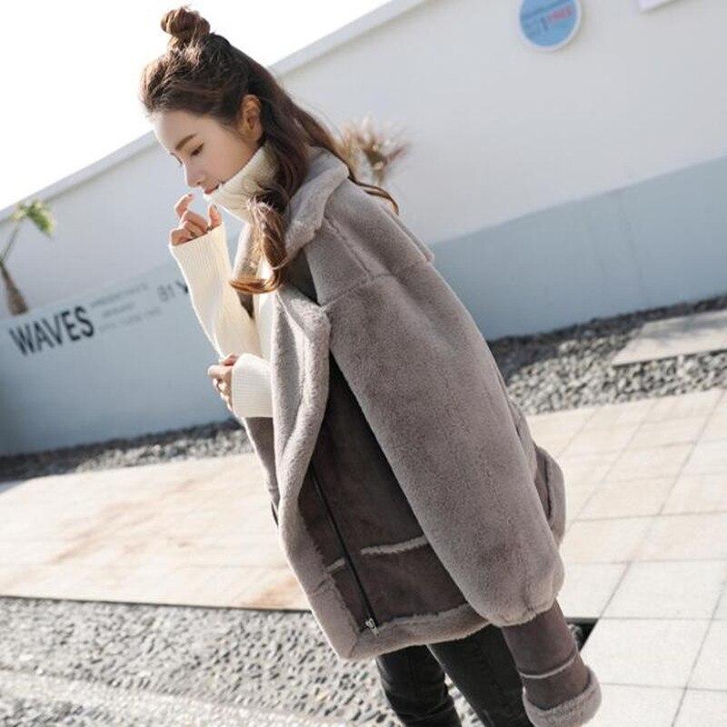 Épaississent Daim Tissu Manteau Courtes Casual Femmes Laine Vestes Fourrure Veste De Plus Multi Mode Vêtements Pour Agneau Une Velours D'hiver Coton rawqc5r